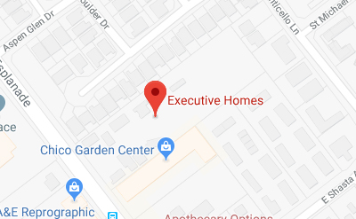 A map showing Executive Homes located off Esplanade